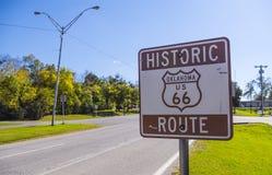 历史的路线66签到俄克拉何马-土尔沙-俄克拉何马- 2017年10月17日 库存图片