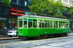 历史的路面电车在旧金山 免版税库存照片