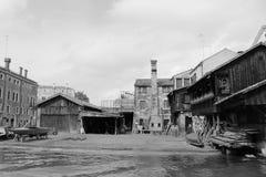 历史的造船厂在威尼斯,意大利 库存图片