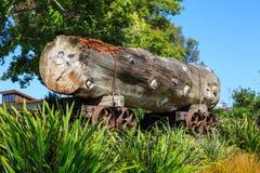 历史的采伐的产业 巨大的注册路轨台车,在公园显示了 图库摄影