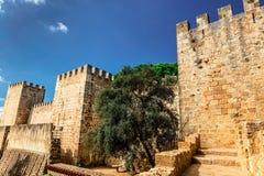 历史的里斯本城堡 免版税库存图片