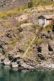 历史的金子调遣大厦和瀑布,克伦威尔新西兰 库存图片