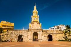 历史的钟楼门和入口对老 免版税库存图片