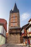 历史的防御塔Schreckensturm在Quedlinbu的中心 免版税库存图片