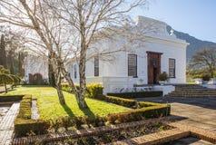 历史的雨格诺派博物馆在Franschhoek,南非 免版税库存照片