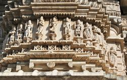 历史的建筑学,雕刻在jagdish寺庙, udaipur拉贾斯坦,印度的石头 库存照片