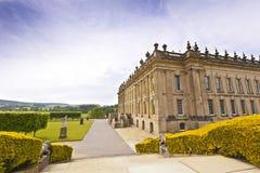 历史的Chatsworth议院在德贝郡,英国 免版税库存照片
