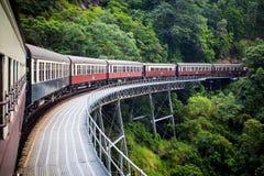 历史的Kuranda盘旋火车 免版税库存照片