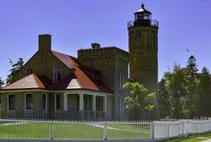 历史的Mackinac灯塔 库存图片