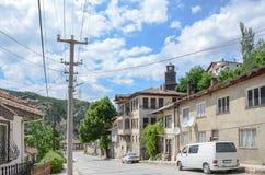 历史的Mudurnu街道全视图在博卢/土耳其 库存照片