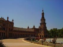 历史的Plaza de EspaA±aa在塞维利亚西班牙 库存照片