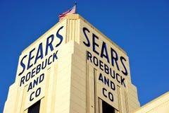 历史的Sears罗巴克大厦在Hackensack, NJ 库存图片