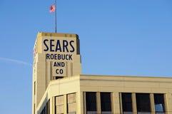 历史的Sears罗巴克大厦在Hackensack, NJ 图库摄影