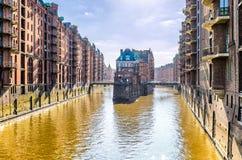 历史的Speicherstadt在汉堡,德国 库存照片