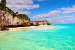 历史的Tulum海滩,加勒比海,墨西哥 库存照片