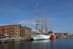历史船在敦刻尔克港口,法国 免版税库存照片