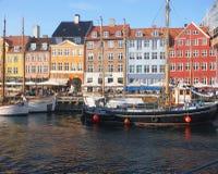 历史船在Nyhavn,哥本哈根 库存图片