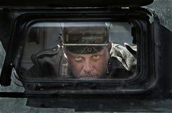 历史节日在莫尔多瓦共和国,俄罗斯, 2015年7月6日 德国军队的罐车的画象 库存照片