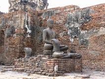 历史菩萨雕象在Phra普朗山姆Yod 库存照片