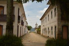 历史街道在paraty城市 免版税库存照片