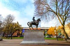 历史西奥多・罗斯福,粗野的车手雕象和俄勒冈如此 免版税图库摄影