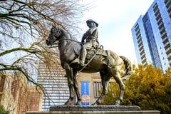 历史西奥多・罗斯福,粗野的车手雕象和俄勒冈如此 免版税库存照片