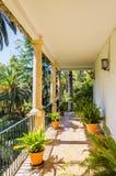 历史西班牙房子和庭院Alfabia的 图库摄影