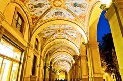历史过道在波隆纳-意大利 免版税库存图片