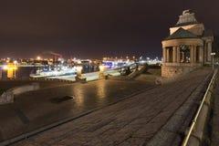 历史部分的波兰/night视图的什切青 免版税库存照片