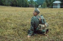 历史重建第二次世界大战 战士摩擦wea 库存图片