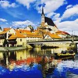 历史镇在捷克 免版税库存照片