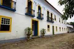 历史镇Paraty巴西的街道 免版税库存图片