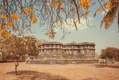 历史建筑学的例子在印度 停放与树、黄色花和12世纪寺庙,印度 库存照片