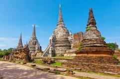 历史Ayutthaya寺庙 大城府, T 免版税库存图片