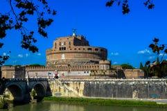 历史Castel的惊人的看法, Sant `安吉洛,罗马,意大利 免版税库存图片