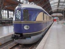 历史DR机车在莱比锡Hbf 免版税库存图片