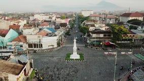 历史Jogja纪念碑空中英尺长度  股票录像
