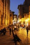历史Moez街道的人们在埃及 库存图片