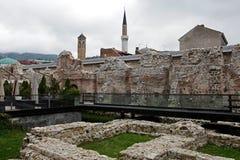 历史Taslihan废墟、萨拉热窝、波斯尼亚和Herze 免版税库存照片