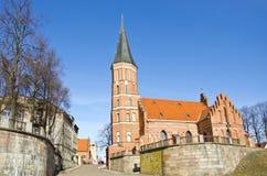 历史Vytautas教会在考纳斯,立陶宛 库存图片