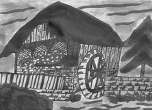 历史Watermill -手拉的墨水图画 库存照片