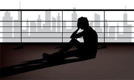 压抑的郁闷症状,悲伤,丧失信心或者不快乐的心情 向量例证