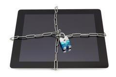 压片与挂锁和锁着的片剂的安全概念 免版税库存图片