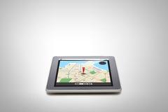 压片有gps导航员地图的个人计算机在屏幕上 免版税库存照片