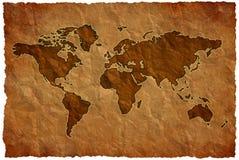压皱纸世界地图 免版税库存图片