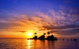 巴厘岛在日落的印度尼西亚与美丽的天空 库存图片
