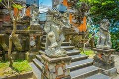 巴厘岛,印度尼西亚- 2017年3月05日:在Pura Ulun Danu Bratan寺庙输入的扔石头的雕象在巴厘岛,印度尼西亚的 库存照片