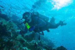 巴厘岛,印度尼西亚- 2008年8月20日:未知的潜水者游泳 库存图片