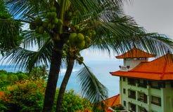 巴厘岛,印度尼西亚- 2008年12月30日:海洋和努沙Dua盛大日光旅馆海滩  免版税库存图片