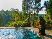 巴厘岛,印度尼西亚- 2012年4月11日:游泳池看法在丹那美拉艺术手段的 免版税库存图片
